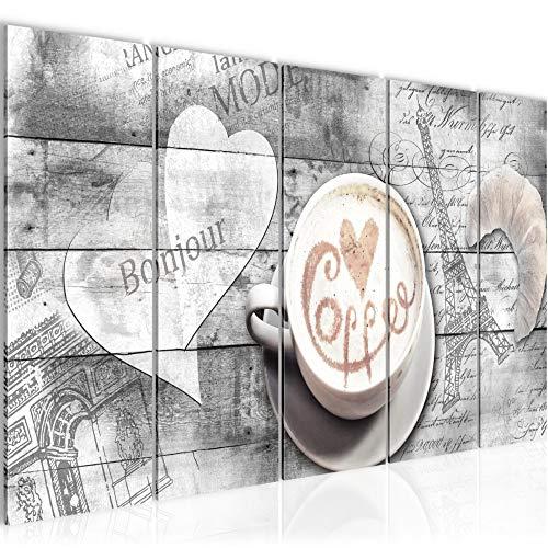 Bilder Kaffee Küche Wandbild 150 x 60 cm Vlies - Leinwand Bild XXL Format Wandbilder Wohnzimmer Wohnung Deko Kunstdrucke Weiß 5 Teilig - MADE IN GERMANY - Fertig zum Aufhängen 012856c (Küche Bilder)