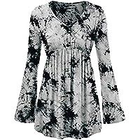 Luckycat Blusa de la línea Plisada de la Cintura del Plisado del teñido Anudado de Moda de Las Mujeres
