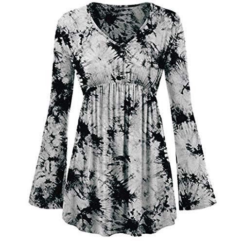Damen Langarmshirt Asymmetrisch T-Shirt Stretch Longshirt MYMYG Langarm Basic Uni Leichtes Freizeit Rundhals mit Knopf Plissee T-Shirt Oberteile Tunika Tops (C7-Weiß,EU:48/CN-4XL)