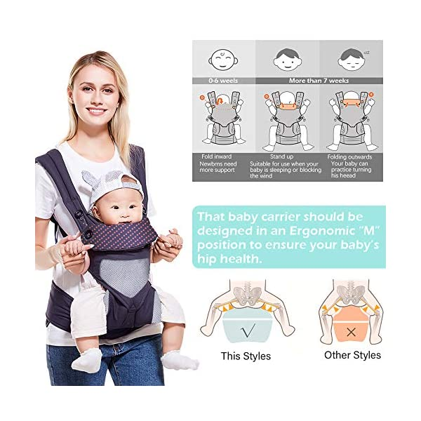 SaponinTree 4-in-1 Baby Carrier for Newborn, Breathable Adjustable Swaddle Wrap with Hood, Ergonomic Breastfeeding Baby Sling Carrier for Newborn to Toddler up to 20kg (0-48 Months) SaponinTree ☀.Premium Material - Baby carrier has high quality pure cotton fabric with 3D breathable air mesh take care of your health and the health of your baby. The adjustable wind cap provide warmth in the winter and freshness in the summer. Suit for baby who is 3-48 months and whose capacity is between 5-20KG. ☀.Comfort & Safety - The area near the abdomen reduces the pressure on the abdomen and gives more comfort to you and your baby. An adjustable shoulder belt and waist belt are made for safer carrying with a double-protection safety buckle eloquently designed just for maximum comfort for parent. ☀.4-in1 Ergonomic Carry Positions - Baby carrier ergonomic has four ways to wear, The Backpack, Kangaroo, Front-Facing, & Sling positions can all be used based on your mood and comfort. depending on different periods of growth, choose a way that best fits your baby's favorite. 5