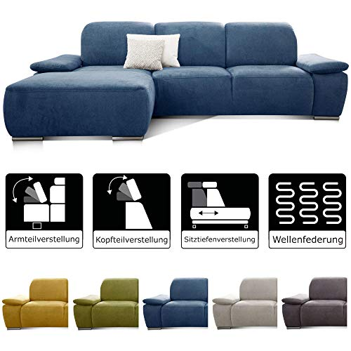 CAVADORE Ecksofa Tabagos / Große Couch mit Longchair links / Sitztiefenverstellung / Kopfteilverstellung / Armteilfunktion / 283 x 85 x 187 / Blau