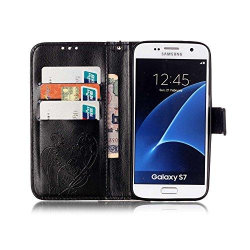 Prägen Blumen-Case, Magnetverschluss Synthetische PU-Leder-Kasten-Abdeckung mit hängenden Seil und Wallet-Funktion für Samsung S7 ( Color : Pink , Size : Samsung S7 ) Black