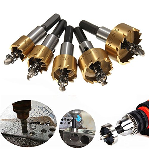 MOHOO 5pcs 16-30 mm HSS Scies-cloches Drill Ensemble Mèche Fraise Carbure pour Forage Scie Cylindrique Foret de perçage Trépan En Acier Inoxydable - Blond
