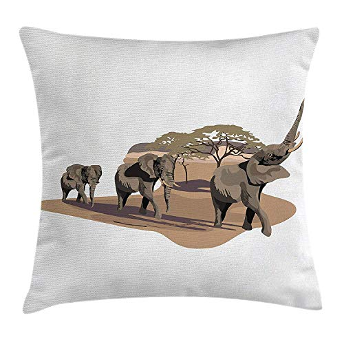 Funda de cojín AlmohadaElefantes africanos en Sabana Imagen gráfica Animales en hábitat...