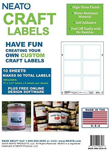 Neato Craft Etiketten-Aufkleber, ideal für Glas, Kerzen, Flaschen, 10 Bögen für 60 Etiketten