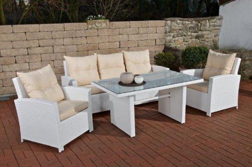 CLP Fisolo - Salottino da giardino in rattan sintetico disponibile in 4 colori a scelta, 5 posti (divano da 3 posti, 2 poltrone e tavolo 137 x 79 cm)