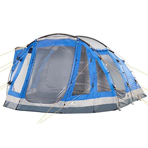 CampFeuer Campingzelt für 5 Personen | Großes Familienzelt mit 3 Eingängen und 3.000 mm Wassersäule | Tunnelzelt fest vernähter Boden | blau/grau | Gruppenzelt