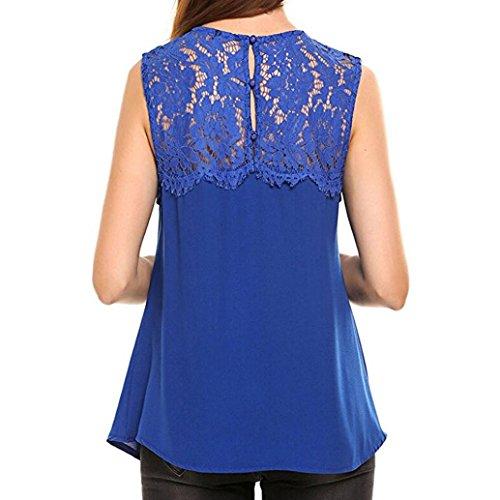 Bluestercool Femmes en mousseline de soie sans manches blouse chemise débardeurs Bleu