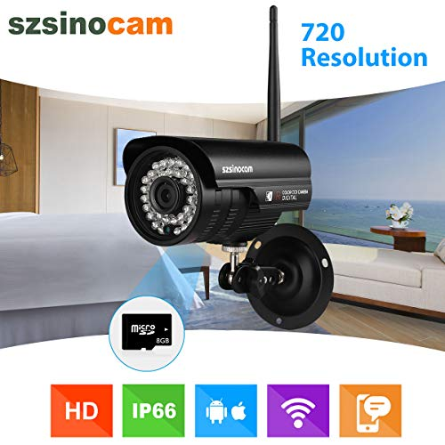 Szsinocam Wireless 720P Megapixel H.264 WiFi Wasserdichte Sicherheit CCTV WLAN IP-Kamera SD Solt 8GB TF EU