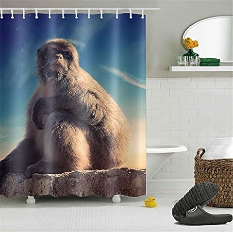 LB 180x180cm Polyester Stoff Bad Vorhänge mit 12 Haken Wasserdicht Ein Affe schaut auf den Himmel gemusterten Duschvorhang für Bad Dekoration