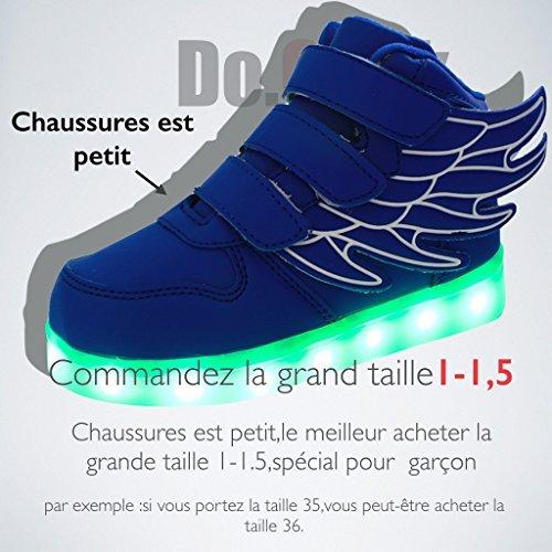 DoGeek Garçon Filles Chaussure LED Lumineuse Enfants Haut Dessus Colorful Led Chaussure Rcharge USB Basket Lumineuse Bleu