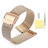 Binlun Milanaise-Armband, 4 Farben (Gold, Sliver, Schwarz, Roségold) 12 Größen (10 mm, 12 mm, 13 mm, 14 mm, 15 mm, 16 mm, 17 mm, 18 mm, 19 mm, 20 mm, 21 mm, 22 mm)