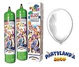 2Einweg-Gasflaschen Helium + 50weiß metallisierte Luftballons für die Hochzeit