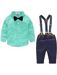 Nwada Ropa Bebe Niño Conjunto Primavera Traje Verano Esmoquin Pascua Camisa y Pajarita y Pantalone 6 Meses a 5 Años