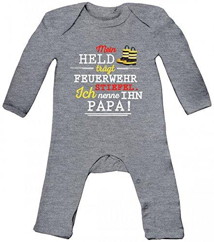 feuerwehrstrampler Vatertag Feuerwehr Baby Strampler Langarm Schlafanzug Jungen Mädchen Papa - Mein Held trägt Feuerwehrstiefel, Größe: 3-6 Monate,Heather Grey Melange