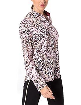 eterna Damen Bluse Comfort Fit Langarm Rosa Bedruckt mit Hemd-Kragen