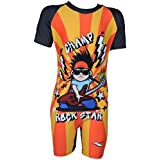 Boys Swim Wear - Bodysuits for Boys | Nylon Spandex | Rockstar Graffiti Printed (Half Sleeves / Half Legs) - 0H