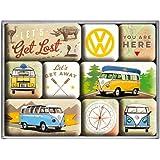 Nostalgic-Art 83080Juego de imanes, diseño de Volkswagen Bulli,Let 's Get Lost, 9piezas