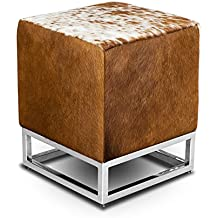 Pequeño taburete mesa auxiliar de piel de vaca piel casa del cubo taburete reposapiés 37 x 37 cm Altura del asiento 45 cm elegante. Descripción de auténtica piel de vaca marrón-blanco