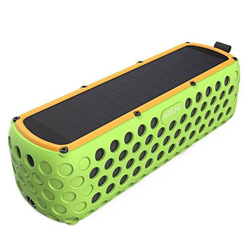 Airecho Solar Bluetooth Altavoz 30-Hour Playtime Dual-driver HD estéreo sin pérdida de audio portátil inalámbrico Bluetooth 4.0 Altavoz para el deporte al aire libre (a prueba de salpicaduras y a prueba de golpes)-Verde