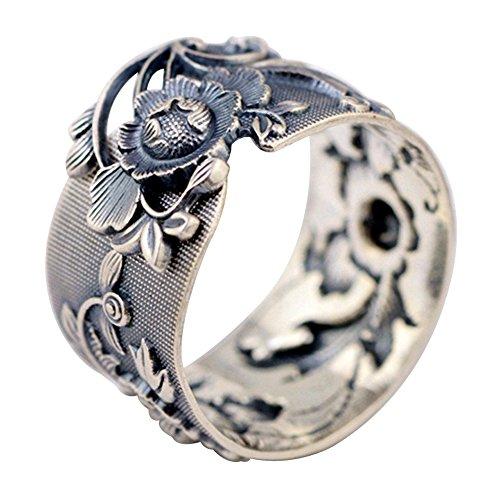 eit 990 Sterling Silber Orientalisch Pfingstrose Blume Ring ()