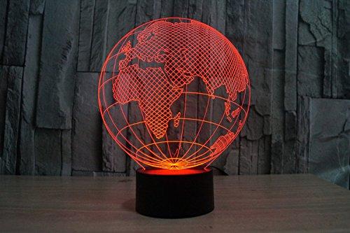 Lampe 3D ILLUSION Lichter der Nacht, kingcoo 7Farben LED Acryl Licht 3D Creative Berührungsschalter Stereo Visual Atmosphäre Schreibtischlampe Tisch-, Geschenk für Weihnachten, Kunststoff, Globe Européen 0.50 wattsW - 5