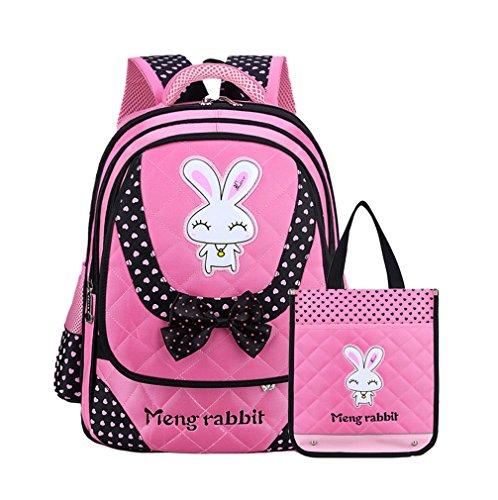 Smile YKK Cartoon Kinder Mädchen Schultasche Rucksack Backpack Kinderrucksack L Pink+Tasche Pink # S+Tasche