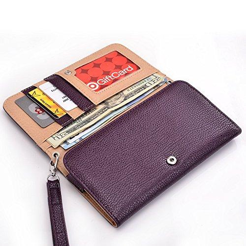 Kroo Clutch Wristlet Wallet passt 16cm Smartphones et Phablets pour Nokia Lumia 1320/1520 White with Mint Blue violett