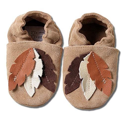 HOBEA-Germany Baby Krabbelschuhe Jungen, Kinderhausschuhe Jungen, Lederschuhe, Schuhgröße:24/25 (24-30 Monate), Modell Schuhe:braune Federn Wildleder
