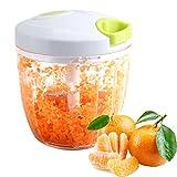 Tatuer Zwiebelschneider Manuell Gemüsehobel Zerkleinerer Küchenmaschine Multi Zerkleinerer mit 5 Klingen Küchenhelfer für Babynahrung, Gemüse,Früchte,Fleisch -900 ml(14 * 12.5 cm)