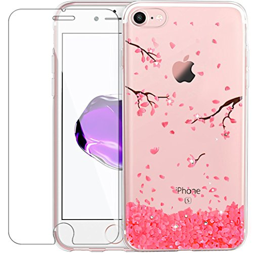 Custodia iPhone 7 [Pellicola Protettiva in Vetro Temperato], Yoowei® Diamante Colorate Dipinto Chiaro Cristallo Trasparente Ultra Sottile Morbido TPU Gel Case Cover per iPhone 7 4.7 (Fiore di Ciliegi Cherry blossoms
