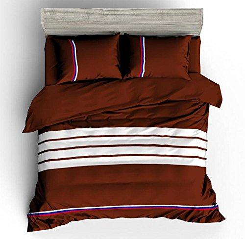 SHIQUNC Streifen Bettbezug Set doppel mit kissenbezüge Quilt Bettwäsche Set königin größe 4 stücke enthalten 1 bettbezug, 1Bed leinen, 2 Kissenbezüge 200 cm x 230 cm, 10, Königin (10 Stück Bettwäsche-sets Königin)