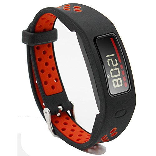 Woodln Smartwatch Recambio Muñeca Reemplazo Correa para Garmin Vivofit Fitness Activity Tracker (BLACK RED)