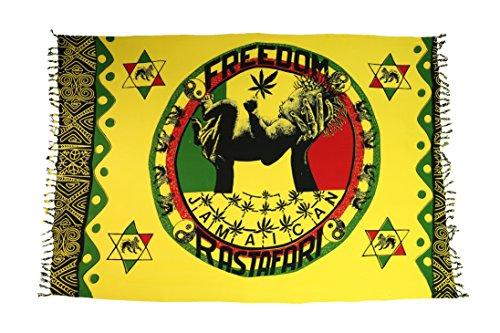 2 er Set Original Yoga Sarong Pareo Wickelrock Strandtuch Rund ca 170cm x 1110cm Handtuch Schal Kleid Wickeltuch Wickelkleid Freiheit Symbol Jamaican Rasta