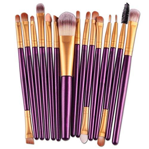 Pinceaux Maquillage,Winwintom® 15 Pcs / Ensembles Eyeshadow Fondation Sourcils Pinceau à lèvres,Violet