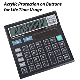 #6: Basic Office Calculator with Large LCD Display and Acrylic Protected on Buttons, 12 Digit Solar, Battery