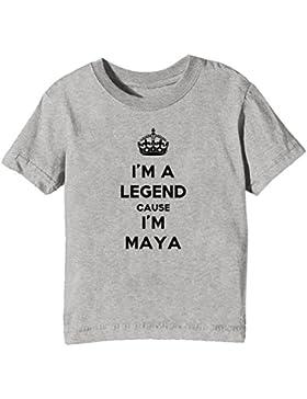 I'm A Legend Cause I'm Maya Bambini Unisex Ragazzi Ragazze T-Shirt Maglietta Grigio Maniche Corte Tutti Dimensioni...