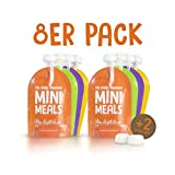 Mini Meals Quetschies 8er Pack + KOSTENLOSES REZEPTBUCH - Wiederverwendbare Quetschbeutel - BPA frei - leicht zu füllen & reinigen - geeignet für alle Kinder - ideal beim abstillen sowie für Bio-Lebensmittel, hausgemachte Babybreie, Yoghurt oder Smoothies
