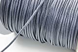 INWARIA Kordel Gewachst 3 mm Schnur 5m Band Farbwahl Kordel Garn, BK-45 (3mm - 5m, Grau)