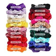 Hair Scrunchies Velvet -20 Pack Velvet Elastic Hair Bands Hair Accessories For Girl Women And Lady(Multiple Colour-Light Colour)
