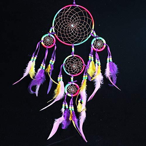 Imixcity Atrapasuenos Blanco Crochet Boho, Hippie, Estilo Gitano Colgante para Habitaciones Auto Decoracion (B:Cinco Anillos