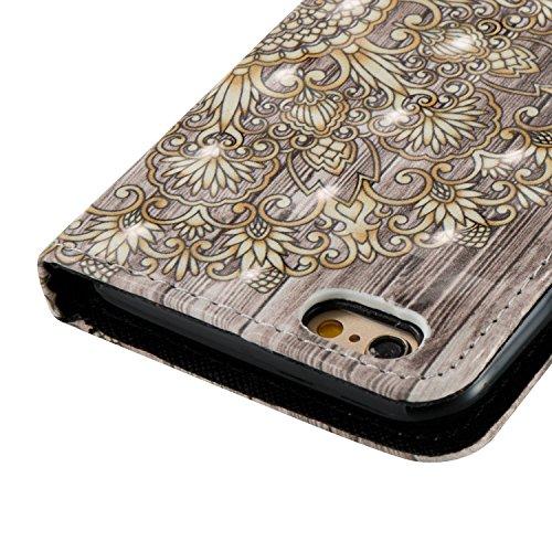Portefeuille iPhone 6S Coque Blanc, Aeeque® Glitter Animaux Motif [Vache Laitière] Fermeture Aimant et Carte de Crédit Style Lirves Étui Housse en Cuir Case à Rabat pour iPhone 6 6S Mandala Gold Rétro