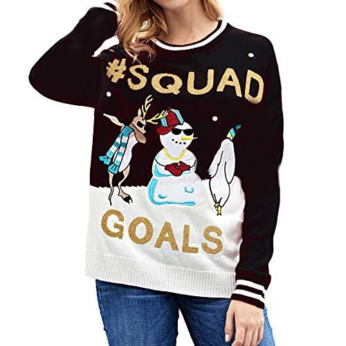 Aberimy Ausverkauf Damen Sweatshirt Lange Weihnachten Einfarbig Uni -