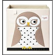 ✮ 3Sprouts ✮ cubo de almacenaje para niños 100% poliéster | caja juguetes | color blanco crudo y beige–diseño: chouette| caja de almacenaje–Estructura reforzada | dimensiones: 33x 33x 33cm | muy alta calidad, original y práctica