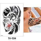 3 Pezzi Foglio Adesivo Tatuaggio temporaneo colorato Finto Tatoo TH-534 15x21 cm