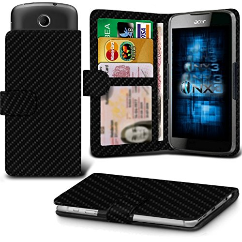 (Carbon Fibre) Acer Liquid M330 Hülle Abdeckung Cover Case schutzhülle Tasche Verstellbarer Feder Mappe Identifikation-Kartenhalter-Kasten-Abdeckung ONX3