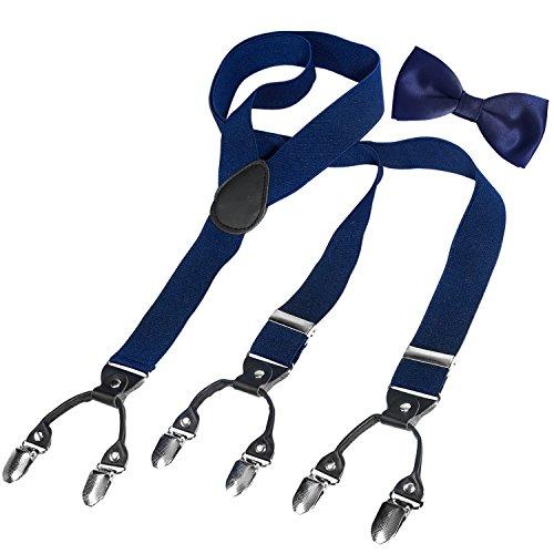 HBF Hosenträger mit den 6 starken Clips und Fliege KIT mehrfarbig elastisch Y-formoig Länge für Damen und Herren Playshoes in verschiedenen Designs (Dunkel blau + schwarz) (Gute Kostüm Für Zwei Jungs)