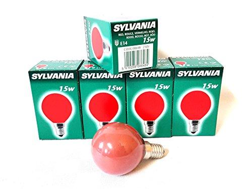 5x Havells Sylvania 0008648 Color rot 15W E14 Glühlampe Lampe Glühbirne Birne 15 Watt Red 230V Durchmesser: 45mm Länge: ca 75mm (Glühbirne Sylvania)