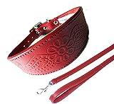 Paisley rot Halsband Hundeleine Set 3Größen Gepolstert und Innenseite aus Wildleder Windhund-Style-Kragen
