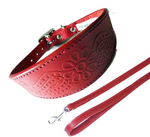 paisley-rojo-cuello-plomo-set-3-tamanos-acolchado-y-respaldo-suede-greyhound-estilo-collar